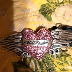 Pink heart with rhinestones and flame wings